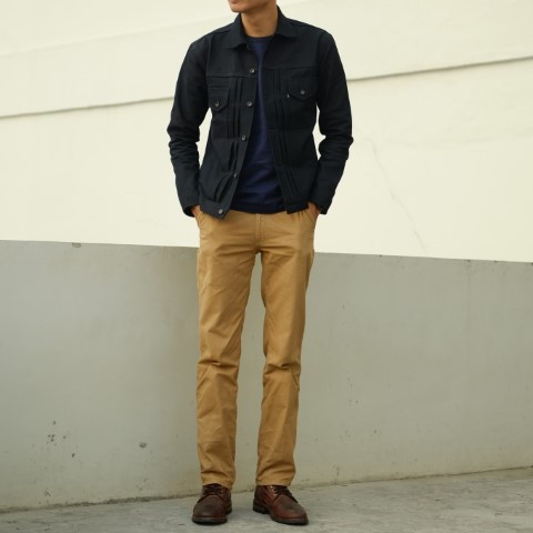 Chinos dengan military look